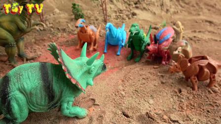 第246集 霸王龙发现三角龙种下的恐龙蛋,学习英语,婴幼儿宝宝玩具过家家游戏视频Q11