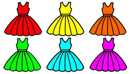 如何简笔画裙子 然后涂上彩色