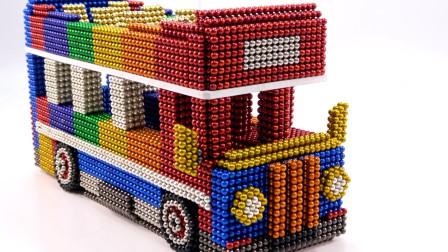 创意手工 如何用巴克球给孩子手工DIY双层公共汽车?