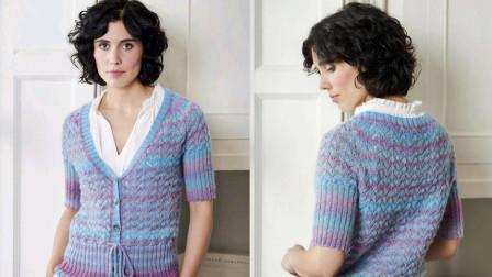 花色开衫花样的编织教程,V领系带,简约大方各种编法