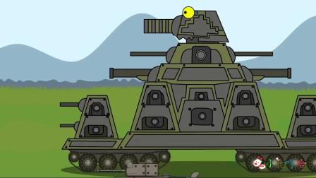 坦克世界搞笑系列:灰色的KV44秒变化身黄金色,对抗苏系赛博坦和利维坦克!