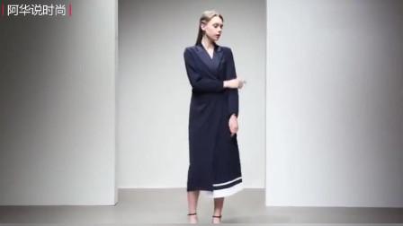 秋装新款欧美时尚干练拼接西装领绑带压褶下摆OL气质连衣裙