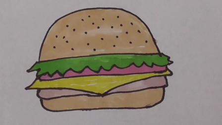 简笔画之汉堡包,美味的汉堡包这么容易就画好了,快来试试吧!
