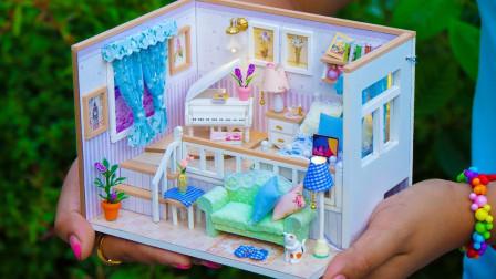 DIY手工:制作微型娃娃的双层房子,让人爱不释手!
