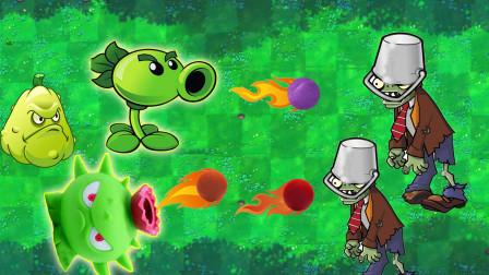 植物大战僵尸玩具,窝瓜豌豆射手导向蓟和铁桶僵尸玩具故事