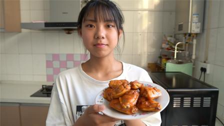 农村小妹自制烤鸡翅,外焦里嫩没想到这么好吃