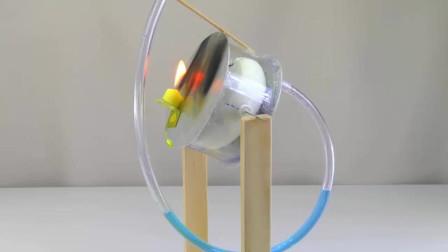 用玻璃瓶做一个斯特林发动机,这个造型还是头一次见,有才!