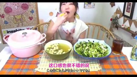 日本大胃王,气质美女吃1公斤野泽菜和米饭,好馋人啊!