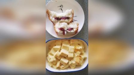 自制面包布丁紫米面包 第一次做烤箱版面包布丁