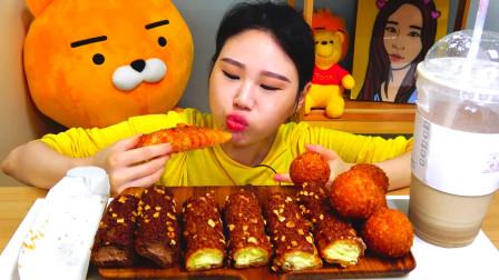韩国大胃王卡妹,试吃肉松面包,这多一个人能吃完吗