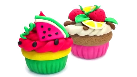 彩泥玩具手工制作 用培乐多彩泥制作西瓜小蛋糕和草莓小蛋糕