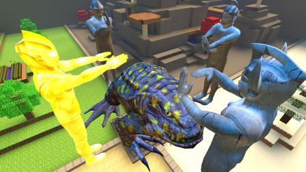 GMOD游戏癞蛤蟆被奥特曼四兄弟围住