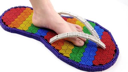 DIY-如何用巴克球手工制作彩虹大凉鞋?