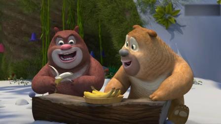 吉吉用绿色的苹果换了黄色的香蕉和柠檬,毛毛给他西瓜汁他不要