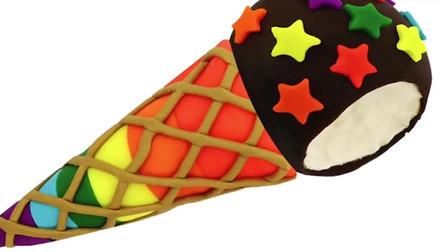 彩泥手工制作 用培乐多彩泥DIY制作冰淇淋 冰淇淋上好多小星星