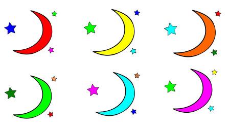 如何简笔画月亮与星星 然后涂上彩色