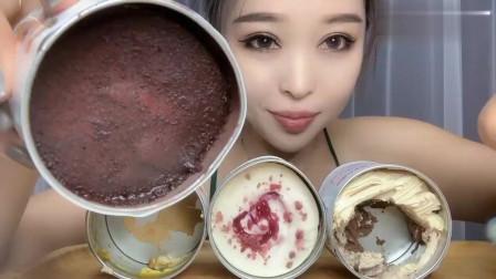 吃货小姐姐,端起蛋糕盒子竟这样吃,满嘴奶油真的不腻吗?