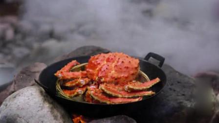 六斤重帝王蟹,大山里这样做美食,太过瘾了!