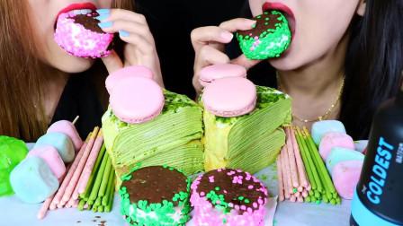 柚子看天下 小姐姐吃超流行的甜品,冰淇淋三明治、抹茶蛋糕