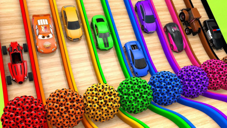 超奇妙!9辆跑车要和闪电麦昆赛车,最后竟然获得9种颜色水果!儿童玩具游戏故事