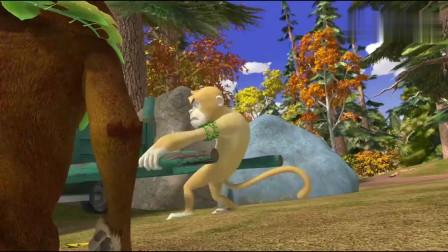 熊出没:猴子之间大作战,为了一车水果,吉吉和壮壮拼命争抢