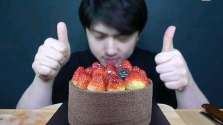 〔吃播剪说话〕深渊巨口哥,巧克力草莓蛋糕