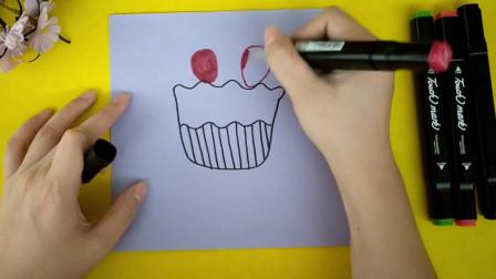 柠檬在佳学画画,可爱又简单的草莓蛋糕,手把手教你简笔画