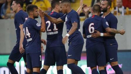 热身赛-姆巴佩2传2射新援送助攻 巴黎圣日耳曼6-1大胜德累斯顿