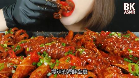 """韩国吃货美女:吃""""爆辣""""海鲜全宴,吃的满嘴辣油,恕我直流口水"""