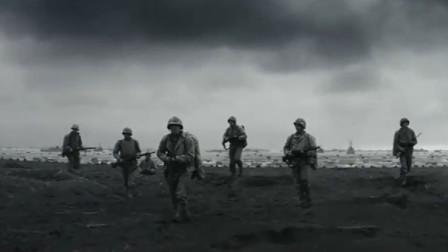 美国电影《父辈的旗帜》中二战太平洋战场硫磺岛登陆战的精彩片段