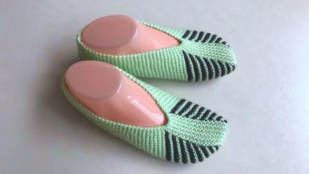 手编地板袜的视频教程,简单的条纹编织,新手也会织法图解视频教程
