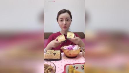 北海道、贵妃糕、红枣糕、酸奶拌水果, 今天午饭吃的有点多