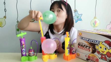 """美食拆箱,趣味""""迷你打气筒糖果"""",一抽一压吹气球,好玩又好吃"""