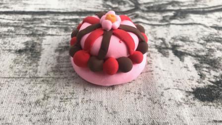 超轻粘土手工乐园,小姐姐教你做生日蛋糕,小朋友们快给自己做一个吧