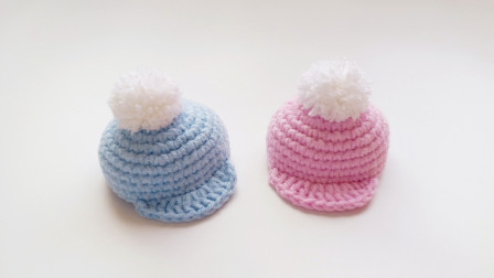 钩针迷你棒球帽的编织方法超可爱的创意编织