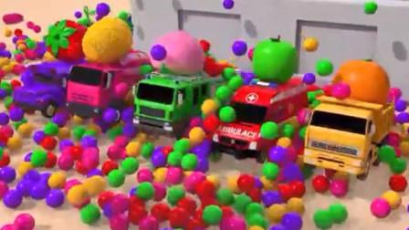 汽车总动员:消防车 搅拌车 救护车 卡车滑滑梯玩海洋球