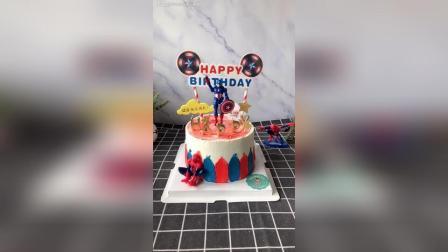 6寸, 美国队长, 蜘蛛侠生日蛋糕走一个, 送给男宝宝的爱!