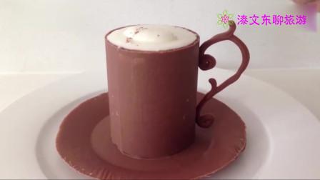还有啥是甜品师做不成的?用巧克力做成逼真的杯子,挤上慕斯诱人