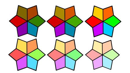 如何简画六角星 然后涂上渐变彩色