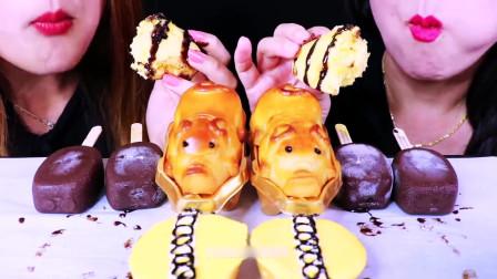 国外美女吃播:小猪糕点、纸杯蛋糕、芒果冰淇淋,是不是很生动啊