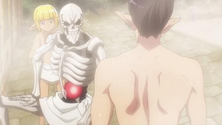 《overlord》哥雷姆与女守护者一起洗澡,不过好像体积有点大,遭到女守护者排斥