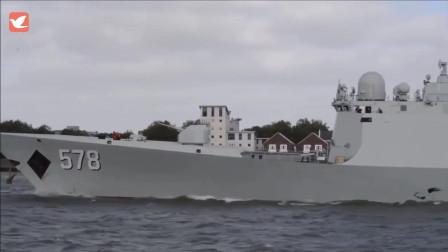 """国产054A型护卫舰""""黄冈""""舰和""""扬州""""舰巡航泰晤士河"""