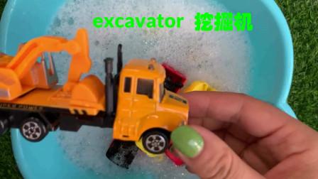 汽车玩具大联盟 学习消防车、挖掘机、垃圾车的英文发音