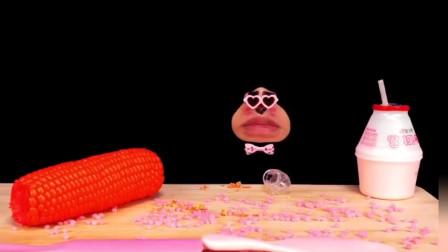 real mouth吃播 吃马卡龙饼干冰淇淋玉米甜品
