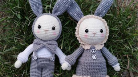 第145集情侣兔共用部分头部、腿部、耳朵、帽子编织的方法图解