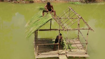 原始技能 陆地已经无法满足生存哥 生存哥 向水面进发建造水上小屋