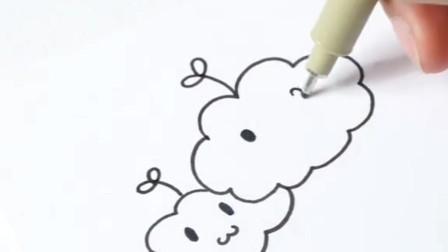 两朵萌萌的白云,一看就会,软萌可爱简笔画系列