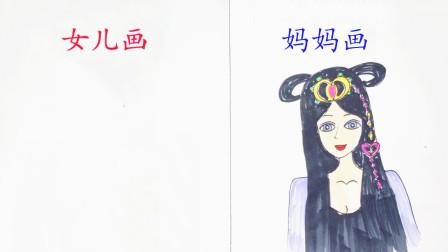 母女画叶罗丽仙子,一开始觉得女儿画残了,不料很有毕加索的遗风