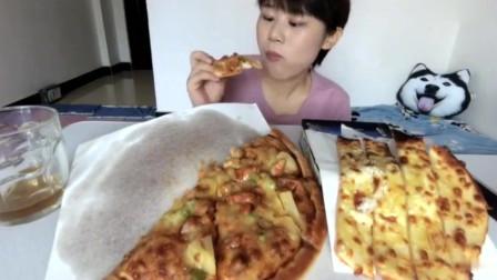 吃播大胃王:鸡肉披萨芝士条,香香脆脆,甚是美味