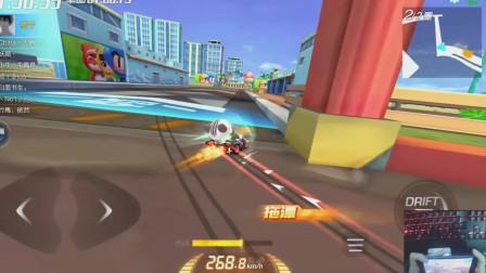 跑跑卡丁车:落后吸尾流,完美加速超车,晨曦又是第一名!